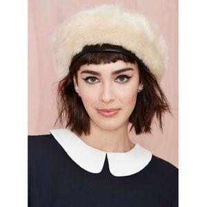 Nasty gal Eugenia Kim Marion ivory fur beret NWT